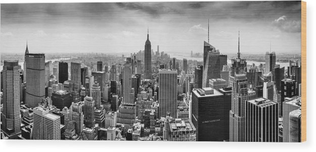 Empire State Building Wood Print featuring the photograph New York City Skyline BW by Az Jackson