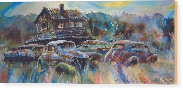 Old Rusty Dilapidated Cars House Wood Print featuring the painting The Wide Spread by Ron Morrison