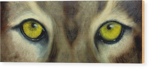 Eyes Wood Print featuring the painting Who's watching who...Florida Panther by Darlene Green