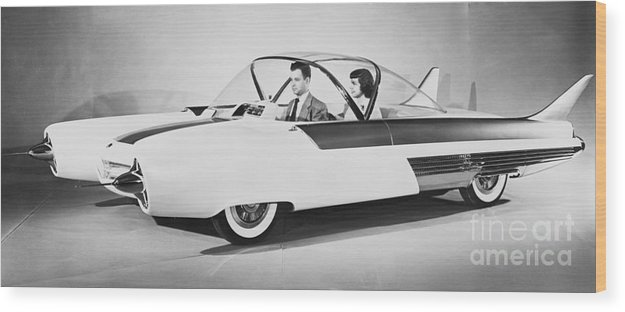 People Wood Print featuring the photograph Fords Future Experimental Car by Bettmann