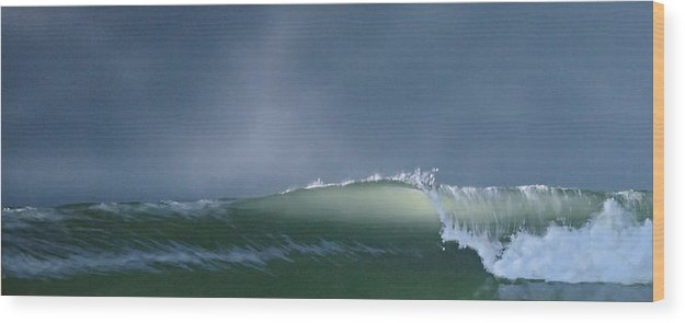 Wave Wood Print featuring the painting Untitled 7 by Philip Fleischer