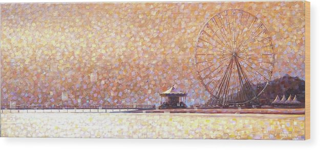 Wood Print featuring the painting Carousel of Arcachon by Rob Buntin