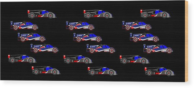 9 Audis And 9 Peugeots Wood Print featuring the digital art 9 Audis and 9 Peugeots by Asbjorn Lonvig
