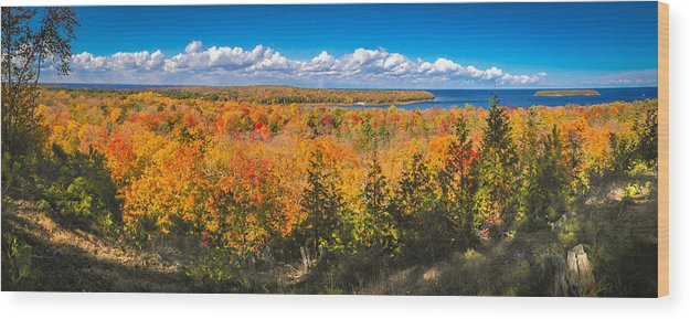 Door County Wood Print featuring the photograph Autumn Vistas of Nicolet Bay by Ever-Curious Photography