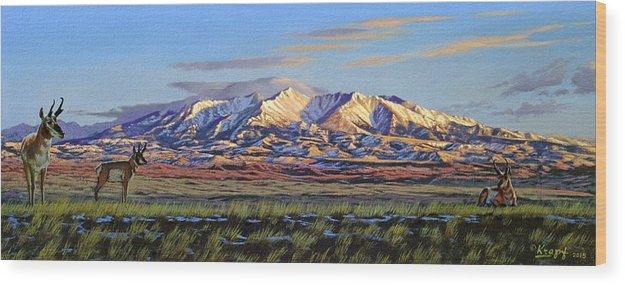 Mountains Wood Print featuring the painting Crazy Mountains-Morning by Paul Krapf