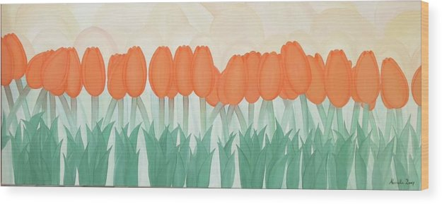 Marinella Owens Wood Print featuring the painting Orange Tulipans by Marinella Owens