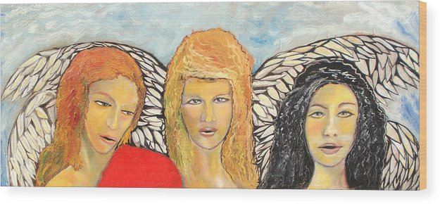 Angels Wood Print featuring the painting Song of the Sisters by J Bauer