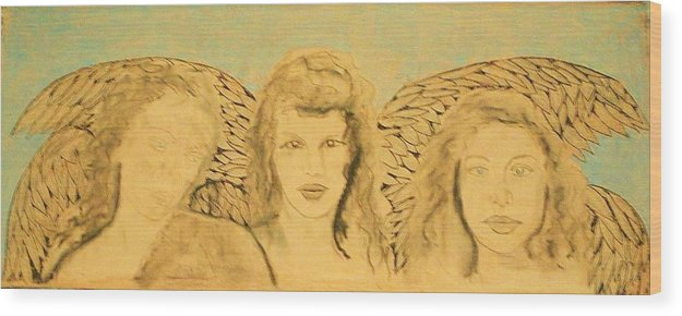 Angels Wood Print featuring the drawing Song of the Sisters Unfinished by J Bauer