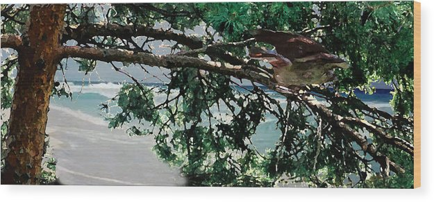 Landscape Wood Print featuring the painting Stealth by Steve Karol