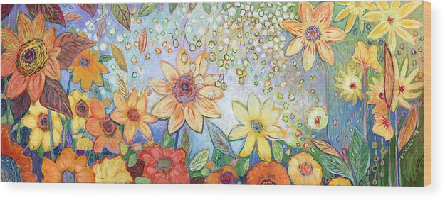 Abstract Wood Print featuring the painting Sunflower Tropics by Jennifer Lommers