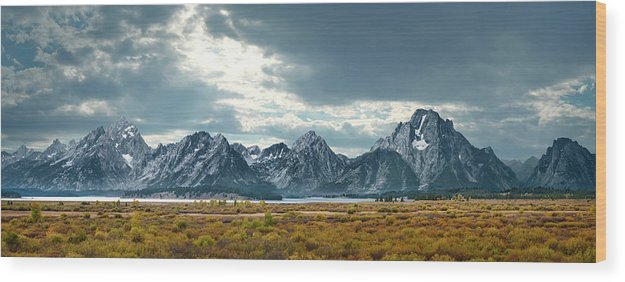 Scenics Wood Print featuring the photograph Grand Tetons In Dramatic Light by Ed Freeman
