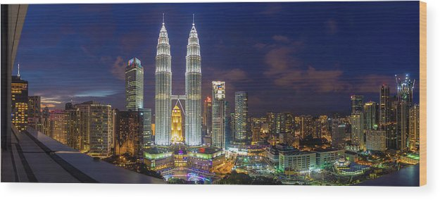 Panoramic Wood Print featuring the photograph Panoramic View Of Petronas Twin Towers by Www.imagesbyhafiz.com
