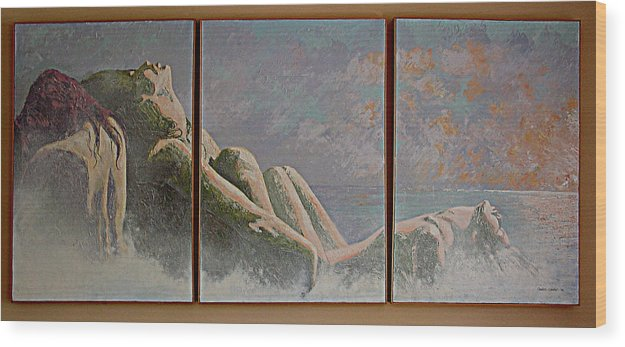 Figure Wood Print featuring the painting Emergence Two by JoAnne Castelli-Castor