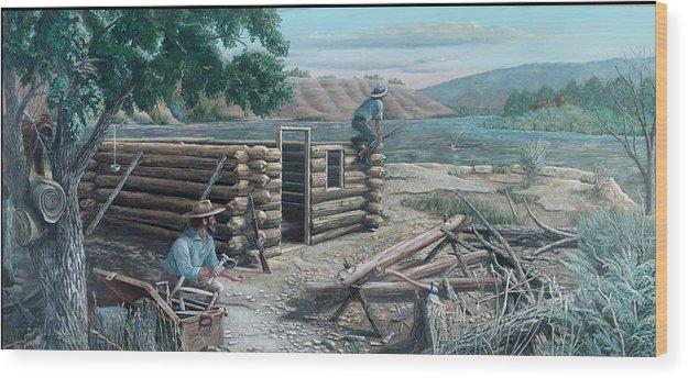 Pioneers Wood Print featuring the painting New Neighbors by Lee Bowerman
