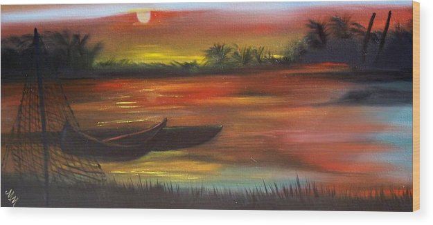 Sunset Wood Print featuring the painting African Sunset by Martha Mullins