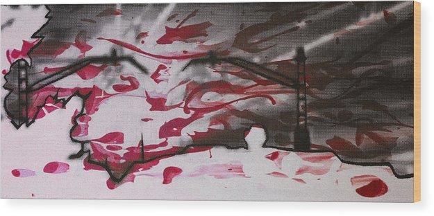 Silhouette Wood Print featuring the digital art Sunset - Serigrafie Kunst by Arte Venezia