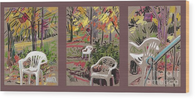 Pastel Wood Print featuring the drawing White Chairs and Birdhouses 1 by Donald Maier