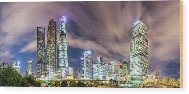 Panoramic Wood Print featuring the photograph Shanghai Skyline by Junyyeung