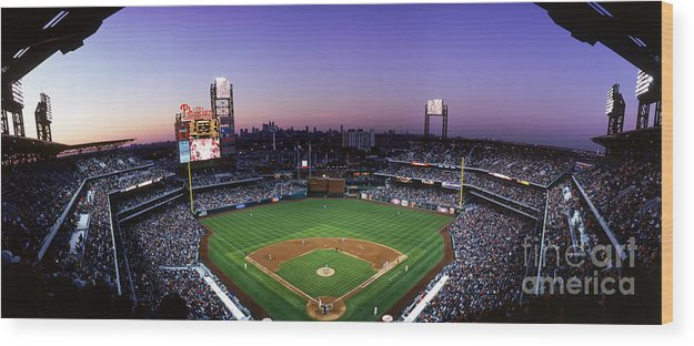 Panoramic Wood Print featuring the photograph Montreal Expos V Philadelphia Phillies by Jerry Driendl