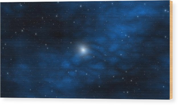 Space Wood Print featuring the digital art Blue Interstellar Gas by Robert aka Bobby Ray Howle