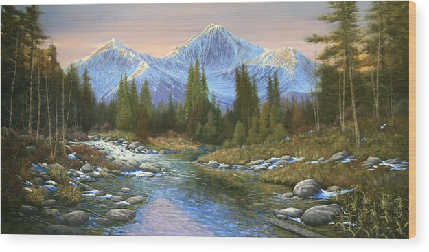 Landscape Wood Print featuring the painting 100807-3060 Seasons Change by Kenneth Shanika