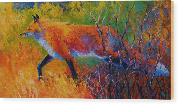 Red Fox Wood Print featuring the painting Foxy - Red Fox by Marion Rose
