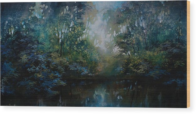 Original Landscape Painting Wood Print featuring the painting Landscape 2 by Michael Lang