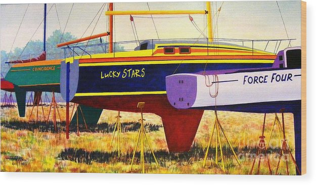 Blue Wood Print featuring the painting Lure of the Sea by Hugh Harris