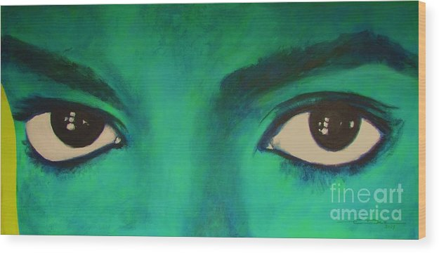 King Of Pop Wood Print featuring the painting Michael Jackson - Eyes by Eric Dee