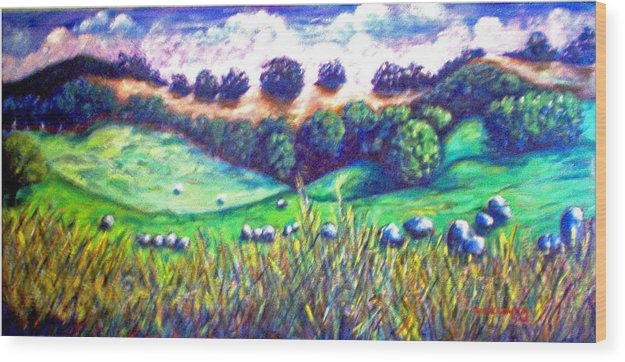 Landscape Wood Print featuring the painting Santa Rosa Plateau by Steve Lawton