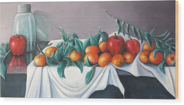 Still Life Wood Print featuring the painting Tangerines And Apples by Eileen Kasprick