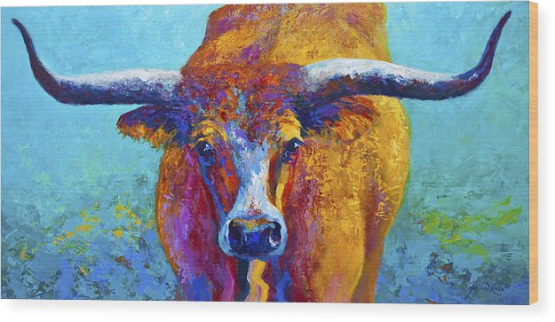 Western Paintings Wood Print featuring the painting Widespread - Texas Longhorn by Marion Rose