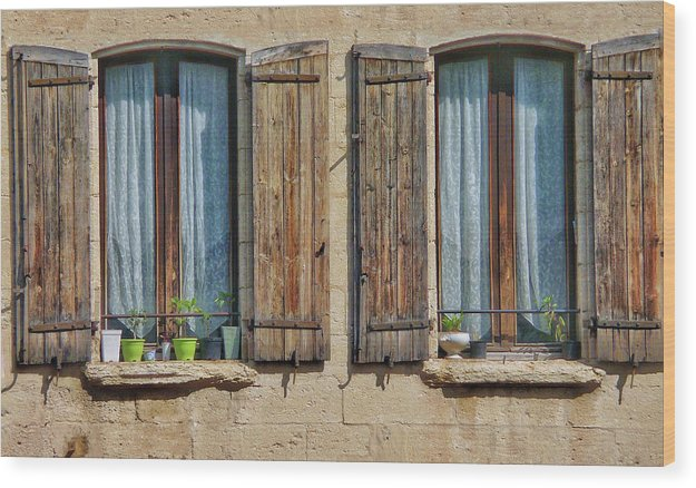 Europe Wood Print featuring the digital art Provence Windows by Scott Waters