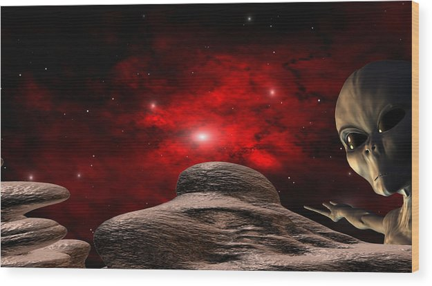 Space Wood Print featuring the digital art Alien Planet by Robert aka Bobby Ray Howle