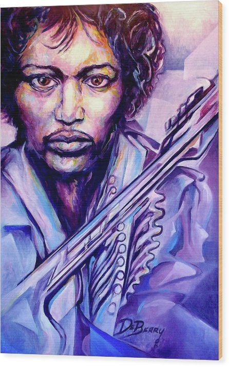 Wood Print featuring the painting Jimi by Lloyd DeBerry