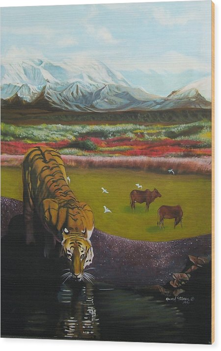Tiger Wood Print featuring the painting Tiger by Howard Stroman