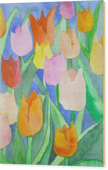 Tulips Wood Print featuring the painting Tulips Multicolor by Christina Rahm Galanis