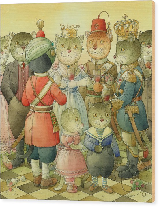 Cats Wood Print featuring the painting Coctail Party by Kestutis Kasparavicius