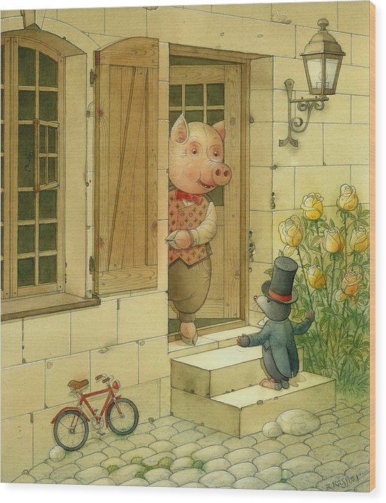 Singer Pig Mole Street Town Roses Animals Wood Print featuring the painting Singing Piglet by Kestutis Kasparavicius