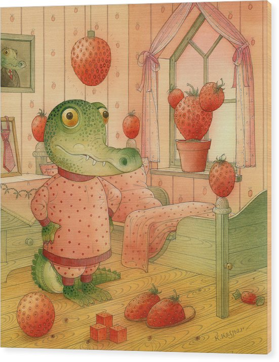 Strawberry Childrens Room Dream Wood Print featuring the painting Strawberry Day by Kestutis Kasparavicius