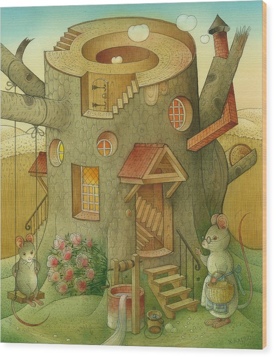 Landscape Mouse Mystique House Tree Wood Print featuring the painting Wrong World by Kestutis Kasparavicius