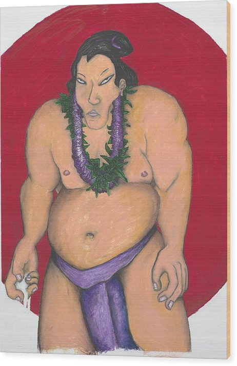 Sumo Wood Print featuring the painting Maui Sumo by Billy Knows