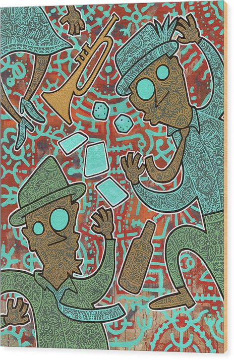 Folk Art Wood Print featuring the painting New Orleans Voodoo by Nicklos Richards