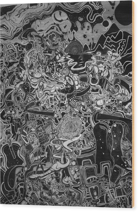 Intricate Wood Print featuring the drawing Intricate Emotions 2 by Philip Latour