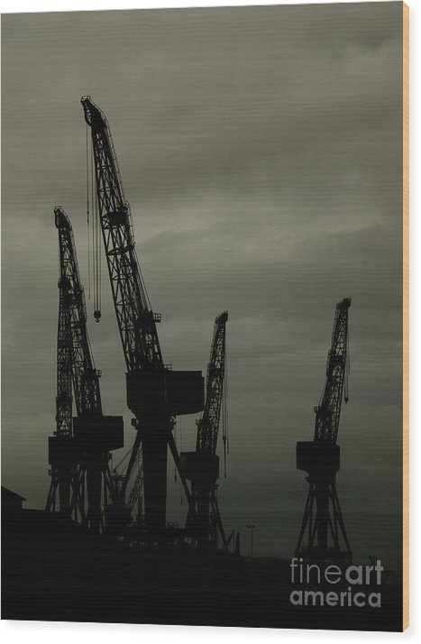Industry Wood Print featuring the photograph Cranes by Steev Stamford