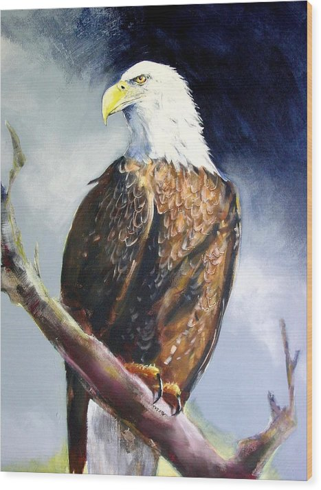 Wildlife Wood Print featuring the painting Bald Eagle by Paul Miller