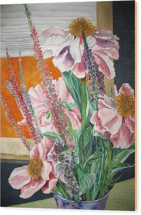 Painting Wood Print featuring the painting Japanese Peonies Bouquet by Caron Sloan Zuger