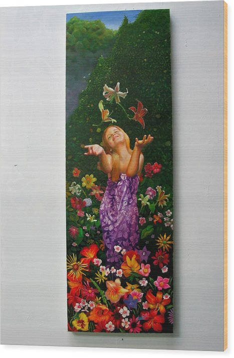 Joy/young Girl/ Flowers/outdoors/nature Wood Print featuring the painting Joyeuse by RC Bailey