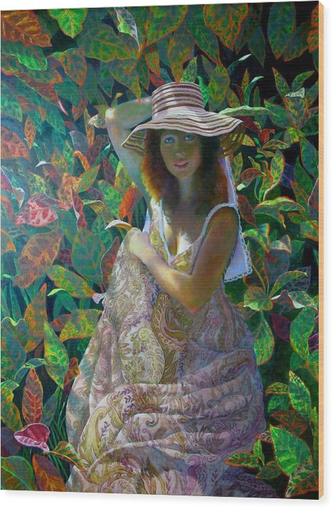 Figurative Wood Print featuring the painting The Garden by RC Bailey