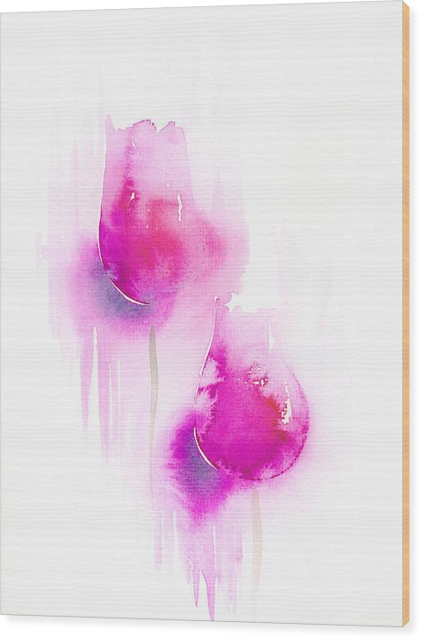 Tulips Wood Print featuring the painting Pink Tulips by Christina Rahm Galanis